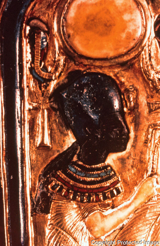 Egypt:  Double Case, detail.  Black representation of King.  Tutankhamun, Cairo Museum.   MMA 1976.