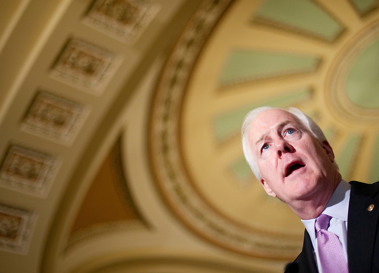 UNITED STATES - JUNE 21: Sen. John Cornyn, R-Texas, speaks to reporters in the Ohio Clock Corridor following the Senate Republicans' policy lunch on Tuesday, June 21, 2011. (Photo By Bill Clark/Roll Call)