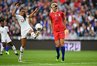Saint Paul, MN - SEPTEMBER 03: Fátima Pinto #13 of Portugal and Samantha Mewis #3 of the United States during their 2019 Victory Tour match versus Portugal at Allianz Field, on September 03, 2019 in Saint Paul, Minnesota.