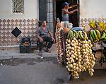 Cojimar, Cuba:<br /> Vegetable vendors on the street of<br />  Cojimar