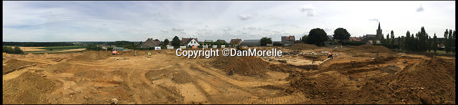 BNPS.co.uk (01202 558833)Pic: DanMorelle/BNPS<br /> <br /> ***Online Embargo 13/7/18**<br /> <br /> A panoramic view of the excavation site in Flanders, Belgium. <br /> <br /> Some 125 First World War soldiers have been discovered entombed in an perfectly preserved German trench system 101 years after they were killed.<br /> <br /> Most of the men, who are German, British, French and South African, were found where they fell during some of the most ferocious fighting of the war.<br /> <br /> Other skeletal remains were located buried in a mass grave alongside religious artefacts placed there by their comrades. <br /> <br /> The 'hell on earth' discovery was made by archaeologists ahead of a housing development on a small field in Flanders, Belgium.
