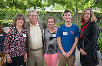 From left, Kathinna Clark, Dave Clark, Corinne Clark, graduate Benjamin Clark and professor Eileen Spain. Graduating seniors and their families and friends attend Brunch with President Jonathan Veitch at Collins House, May 16, 2015. (Photo by Marc Campos, Occidental College Photographer)