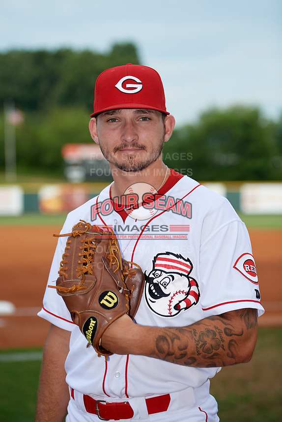 Greeneville Reds pitcher Cory Heitler (36) poses for a photo before a game against the Pulaski Yankees on July 27, 2018 at Pioneer Park in Tusculum, Tennessee.  Greeneville defeated Pulaski 3-2.  (Mike Janes/Four Seam Images)
