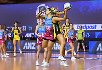 4th July 2020, Auckland, New Zealand;  Maddy Gordon collides with Taneisha Fifita.<br /> Central Pulse versus Southern Steel. ANZ Premiership Netball. Auckland Netball Centre, Saturday 4 July 2020.