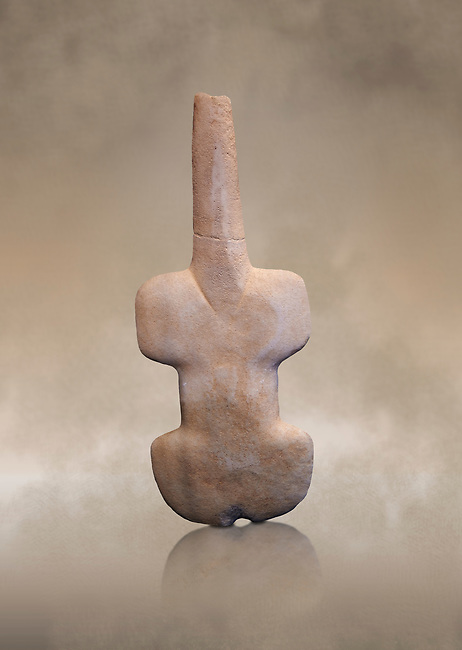 Ancient violin shaped schematic figure from the Pelos phase,  'Kusura type', probably from Asia Minor. Early Cycladic period I 3200-2800 BC. Museum of Cycladic Art Athens, Cat no 961