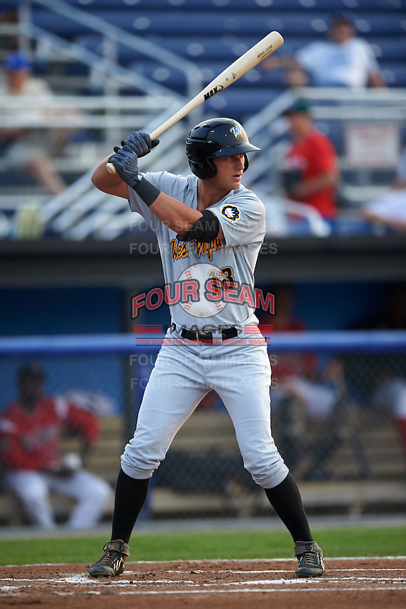 West Virginia Black Bears outfielder Logan Hill (18) at bat during a game against the Batavia Muckdogs on August 31, 2015 at Dwyer Stadium in Batavia, New York.  Batavia defeated West Virginia 5-4.  (Mike Janes/Four Seam Images)