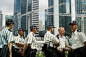 Policemen in Hong Kong.