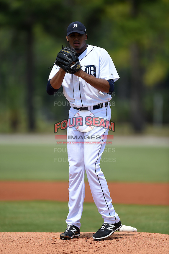 Detroit Tigers pitcher Jeff Thompson  (50) during a minor league spring training game against the Houston Astros on March 25, 2015 at Tiger Town in Lakeland, Florida.  (Mike Janes/Four Seam Images)