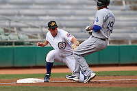 Mesa Solar Sox infielder D.J. LeMahieu #7 tags out Brian Cavazos-Galvez during an Arizona Fall League game against the Salt River Rafters at HoHoKam Park on November 4, 2011 in Mesa, Arizona.  Mesa defeated Salt River 12-10.  (Mike Janes/Four Seam Images)