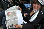 Evelyn LaHaie, the former talent agent who booked the Jackson Brothers and renamed them the Jackson Five, holds an article from the local newspaper crediting her in a story that features her picture as she sits in the front row at U.S. Steel Yard Stadium  during a memorial tribute to Michael Jackson in Gary, Indiana on July 10, 2009.