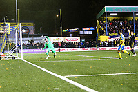 Haringey are denied a goal scored by Joe Stainton during Haringey Borough vs AFC Wimbledon, Emirates FA Cup Football at Coles Park Stadium on 9th November 2018