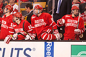 Chase Phelps (BU - 12), Gabriel Chabot (BU - 10), David Quinn (BU - Head Coach), John MacLeod (BU - 16), Chad Krys (BU - 5) - The Boston University Terriers defeated the Boston College Eagles 3-1 in their opening Beanpot game on Monday, February 6, 2017, at TD Garden in Boston, Massachusetts.