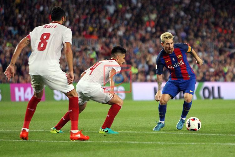League Santander 2016/2017.<br /> Supercopa de Espa&ntilde;a - Vuelta.<br /> FC Barcelona vs Sevilla FC: 3-0.<br /> Iborra, Kranevitter &amp; Lionel Messi.