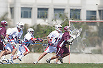 Los Angeles, CA 03/20/10 - Cooper Robbins (Arizona # 10), Chris Plummer (Arizona # 36), Alec Paul (LMU # 7), Chase Parlett (LMU # 6), Christian Schaefer (Arizona # 11) and Greg Sharron (LMU # 18) in action during the Arizona-Loyola Marymount University MCLA game at Leavey Field (LMU).  LMU defeated Arizona 13-6.
