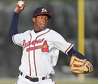June 18, 2008: RHP Julio Teheran (27), 17 years old from Colombia, of the Danville Braves, rookie Appalachian League affiliate of the Atlanta Braves, made his professional debut with a win against the Burlington Royals at Dan Daniel Memorial Park in Danville, Va. Photo by:  Tom Priddy/Four Seam Images