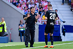 Coach Jose Lui Mendilibar of SD Eibar (L) talks to Ivan Alejo of SD Eibar (R) during the La Liga match between Atletico Madrid and Eibar at Wanda Metropolitano Stadium on May 20, 2018 in Madrid, Spain. Photo by Diego Souto / Power Sport Images