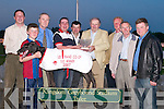 PRIZE: Adrian Kelly owner of the winning dog Droopys Kuyt been presented with the Lee Strand Waterford Crystal Bowl by GM Bill Kennedy after his dog won the 26,000 Lee Starnd 550 Final. also in pic were,. Jack Buckley, Kieran Casey, Jack Ward, Adrian Kelly, BPat Buckley (Trainer), Bill Kennedy, Brendan Walsh, Brendan Hobbert and Michael Dunphy..