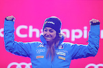 ALPINE WORLD SKI CHAMPIONSHIPS 2017. Sofia Goggia at the podium of the medal ceremony in St. Moritz on February 16, 2017. France's Tessa Worley is the new World Champion ahead of USA's Mikaela Shiffrin, Sofia Goggia from Italy is third.