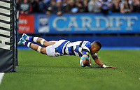 Anthony Watson scores a try for Bath underneath the posts. Amlin Challenge Cup Final, between Bath Rugby and Northampton Saints on May 23, 2014 at the Cardiff Arms Park in Cardiff, Wales. Photo by: Patrick Khachfe / Onside Images