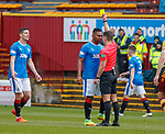 31.3.2018: Motherwell v Rangers: <br /> Alfredo Morelos booked by referee Nick Wlash