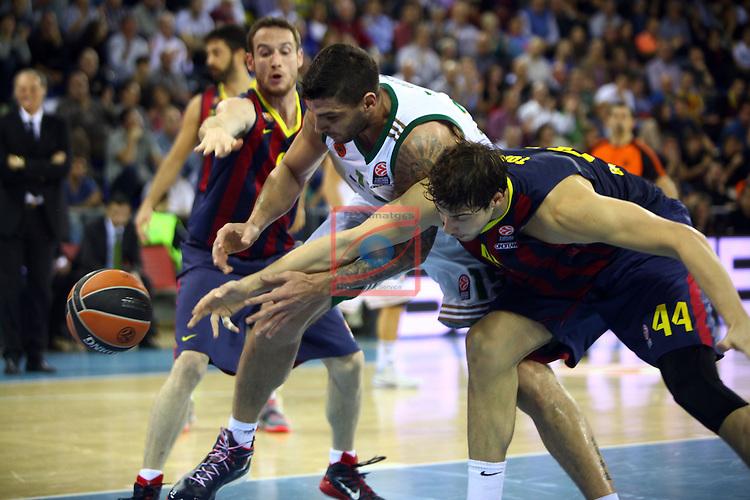 Euroleague Basketball-Regular Season Round 5.<br /> FC Barcelona vs Panathinaikos Athens: 78-69.<br /> Marcelinho Huertas, Esteban Batista &amp; Ante Tomic.