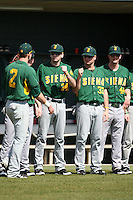 February 21, 2010:  Dan Paolini (2) of the Siena Saints fist bumps Lou Simonetti (24), Ed Charles (33) and Dan Gasapo (44) before a game at Melching Field at Conrad Park in DeLand, FL.  Siena lost to Stetson by the score of 8-7.  Photo By Mike Janes/Four Seam Images