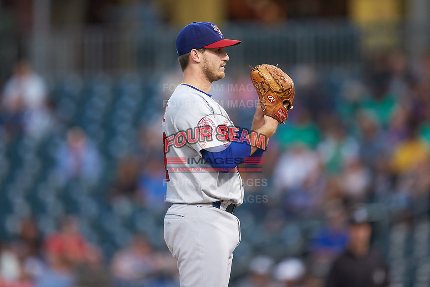 Buffalo Bisons starting pitcher Thomas Pannone (47) looks to his catcher for the sign against the Caballeros de Charlotte at BB&T BallPark on July 23, 2019 in Charlotte, North Carolina. The Bisons defeated the Caballeros 8-1. (Brian Westerholt/Four Seam Images)