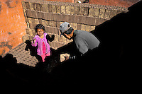 A Peruvian girl, working with her father, piles raw bricks inside a kiln at a brick factory in the outskirts of Puno, Peru, 6 August 2012. Child labour is a common practice at the artisanal brick factories, found predominantly in socially deprived areas of the urban zones. Poverty and lack of employment force parents, mainly season workers coming from rural areas of the country, to employ their own children, in an effort to ensure the livelihood for the whole family. Children aged 4-7 take part in simple jobs while children aged 8 and up tend to work regularly, same as adults. A family group, consisting of 2 adults and 2-3 children, may earn 20-25 USD per day, working almost the whole day, often in harsh climatic conditions.