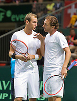 Switserland, Gen&egrave;ve, September 19, 2015, Tennis,   Davis Cup, Switserland-Netherlands, Doubles:  Dutch team Thiemo de Bakker/Matwe Middelkoop (R)<br /> Photo: Tennisimages/Henk Koster