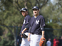 Hiroki Kuroda, Masahiro Tanaka (Yankees),<br /> FEBRUARY 15, 2014 - MLB : Pitcher Hiroki Kuroda (L) and Masahiro Tanaka of the New York Yankees during the first day of the team's spring training baseball camp at George M. Steinbrenner Field in Tampa, Florida, United States.<br /> (Photo by Thomas Anderson/AFLO) (JAPANESE NEWSPAPER OUT)