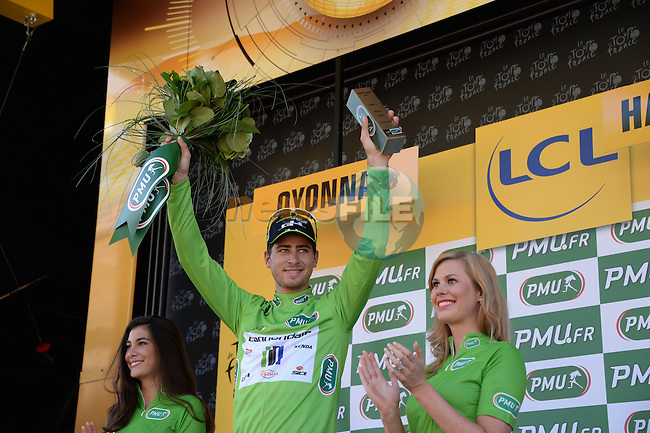 Peter Sagan (SVK) Cannondale retains his hold on the sprinter's Green Jersey at the end of Stage 11 of the 2014 Tour de France running 187.5km from Besancon to Oyonnax. 16th July 2014.<br /> Photo ASO/X.Bourgois/www.newsfile.ie