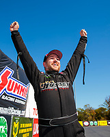 Oct 14, 2019; Concord, NC, USA; NHRA top alcohol funny car driver Sean Bellemeur celebrates after clinching the 2019 championship during the Carolina Nationals at zMax Dragway. Mandatory Credit: Mark J. Rebilas-USA TODAY Sports
