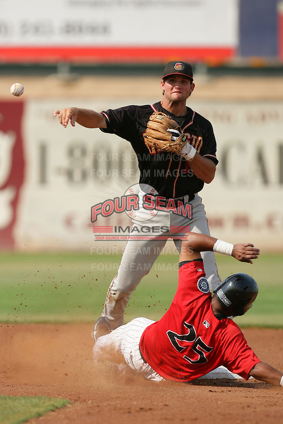 September 7 2009:  Warren Schaeffer of the Modesto Nuts during game against the High Desert Mavericks at Maverick Stadium in Adelanto,CA.  Photo by Larry Goren/Four Seam Images