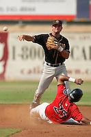 September 7 2009:  Warren Schaeffer of the Modesto Nuts during game against the High Desert Mavericks at Maverick Stadium in Adelanto,CA.  Photo by Larry Goren/Four Seam Images