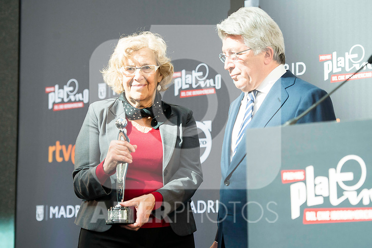 """Enrique Cerezo and Madrid Mayor Manuela Carmena attends to the presentation of the """"Premios Platino"""" at Palacio de Cristal in Madrid. April 07, 2017. (ALTERPHOTOS/Borja B.Hojas)"""
