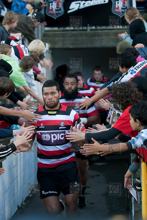 Siale Piutau runs out for the ITM Cup rugby game between Counties Manukau and Manawatu played at Bayer Growers Stadium on Saturday August 21st 2010..Counties Manukau won 35 - 14 after leading 14 - 7 at halftime.