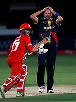 Mitch Claydon frustration during the T20 Quarter-Final game between Kent Spitfires and Lancashire Lightning at the St Lawrence ground, Canterbury, on Aug 23, 2018.