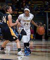 Courtney Range of California dribbles the ball during the game against Long Beach State at Haas Pavilion in Berkeley, California on November 8th, 2013.  California defeated Long Beach State, 70-51.