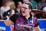 CLAYTON, MO - APRIL 14: Breanna Clemmer #10 of McKendree University reacts to after bowling a strike during the Division I Women's Bowling Championship held at Tropicana Lanes on April 14, 2018 in Clayton, Missouri. Vanderbilt University defeated McKendree University 4-3. (Photo by Tim Nwachukwu/NCAA Photos via Getty Images)