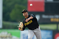 West Virginia Power starting pitcher Oddy Nunez (47) delivers a pitch to the plate against the Kannapolis Intimidators at Kannapolis Intimidators Stadium on June 17, 2017 in Kannapolis, North Carolina.  The Power defeated the Intimidators 6-1.  (Brian Westerholt/Four Seam Images)