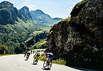The breakaway group descending during Stage 11 of the 2018 Tour de France running 108.5km from Albertville to La Rosiere Espace San Bernardo, France. 18th July 2018. <br /> Picture: ASO/Alex Broadway | Cyclefile<br /> All photos usage must carry mandatory copyright credit (&copy; Cyclefile | ASO/Alex Broadway)