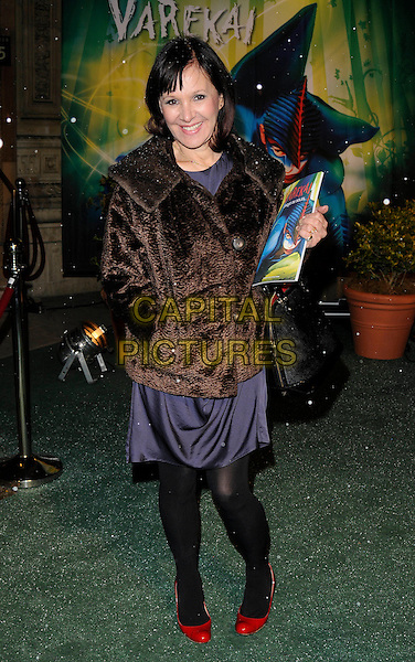 ARLENE PHILLIPS .Arrivals at Cirque du Soleil's Varekai gala opening night at the Royal Albert Hall, London, England. .January 5th, 2009.full length black tights blue red red shoes brown fur jacket hand in pocket.CAP/CAN.©Can Nguyen/Capital Pictures.