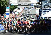 Picture by Simon Wilkinson/SWpix.com - 23/09/2017 - Cycling UCI 2017 Road World Championships Bergen Norway - Road Race <br /> Women Elite/Femmes Elite<br /> Peloton crowds fans spectators bergen city centre roll out