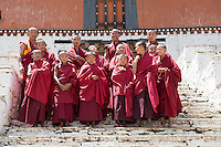 Bhutan, Paro. Monks at Paro Rinpung Dzong.