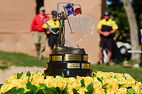 The Valero Texas Open championship trophy awaits Kevin Chappell (USA) to arrive for presentation following round 4 of the Valero Texas Open, AT&amp;T Oaks Course, TPC San Antonio, San Antonio, Texas, USA. 4/23/2017.<br /> Picture: Golffile | Ken Murray<br /> <br /> <br /> All photo usage must carry mandatory copyright credit (&copy; Golffile | Ken Murray)