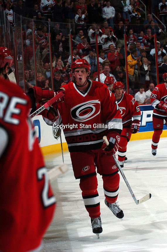 Carolina Hurricanes' Eric Staal celebrates a goal against the Washington Capitals during their game Wednesday, Oct. 12, 2005 in Raleigh, NC. Carolina won 7-2.