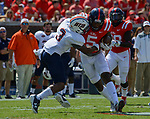 DaMarkus Lodge attempts to get around UT Martin's defense during the game against UT Martin Sat., Sept. 9, 2017. Ole Miss wins 45-23. Photo by Marlee Crawford/Ole Miss Communications