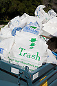 "Full trash bags from the clean up efforts all over Millbrae were brought back to Rotary Park for tallying and disposal. Volunteers in the City of Millbrae participated in California Coastal Cleanup Day on 9/19/09. Participants cleaned up inland locations throughout the city as well as at Bayfront Park on the San Francisco Bay shoreline. The inland cleanup efforts were important because, according to the California Coastal Commission, ""past Coastal Cleanup Day data tell us that most (between 60-80 percent) of the debris on our beaches and shorelines comes from inland sources, traveling through storm drains or creeks out to the beaches and ocean. Rain or even something as simple as hosing down a sidewalk can wash cigarette butts, bits of styrofoam, pesticides, and oil into the storm drains and out to the ocean."" The California Coastal Cleanup Day (http://www.coastal.ca.gov/publiced/ccd/ccd.html) is sponsored by the California Coastal Commission and is a part of the International Coastal Cleanup organized by The Ocean Conservancy."