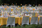 Tables ready for the VIPs in Mondorf-les-Bains before the start of Stage 4 of the 104th edition of the Tour de France 2017, running 207.5km from Mondorf-les-Bains, Luxembourg to Vittel, France. 4th July 2017.<br /> Picture: Eoin Clarke | Cyclefile<br /> <br /> <br /> All photos usage must carry mandatory copyright credit (&copy; Cyclefile | Eoin Clarke)