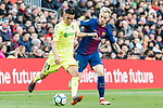 Faycal Fajr of Getafe CF (L) fights for the ball with Ivan Rakitic of FC Barcelona (R) during the La Liga 2017-18 match between FC Barcelona and Getafe FC at Camp Nou on 11 February 2018 in Barcelona, Spain. Photo by Vicens Gimenez / Power Sport Images